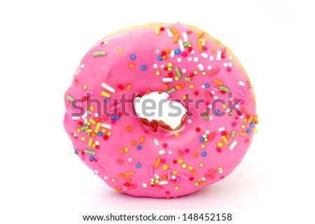 Donut with Pink and Yellow  isolated on a White Background - stock photo