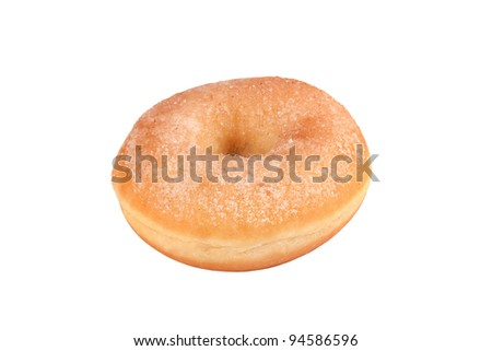 Donut with sugar in front of white background