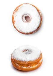 Donut with sugar powder, isolated on white background. Top view and view from an angle of forty-five degrees.