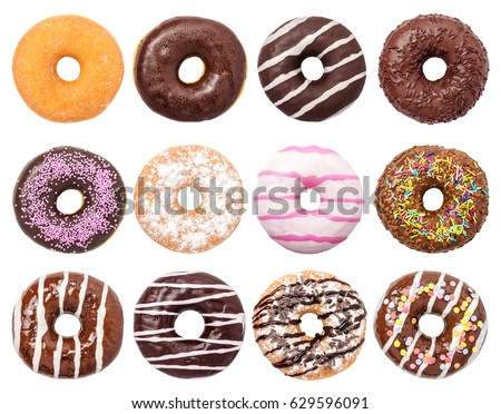 Donuts Set Isolated on White Background. You get different type of donuts: with chocolate, pink, with stripes,with syrup and sugar powder.