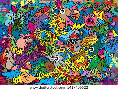 Doodle Art Animals Illustration Cute Funny Cartoons Comic Book Line Art