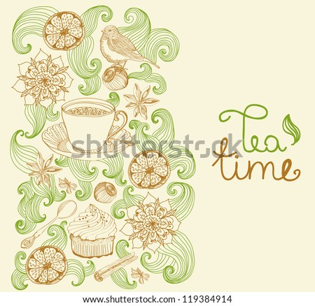 doodle background for tea time and place for text