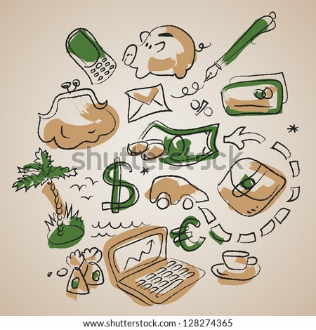 Doodle business background with financial symbol. Illustration.