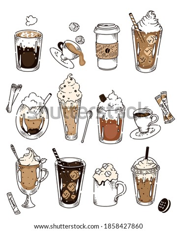 Doodle chalk sketch set with various coffee recipe kind. Americano, cappuccino, frappe, espresso, glaze, irish, frappe in row with coffee bean, sugar, cookie illustration on white background