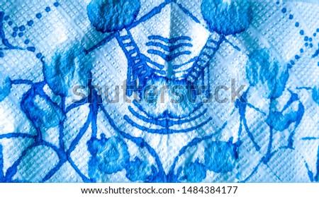 Doodle Childish Drawing. Funky Ornate Sketch. Hand Drawn Splash. Contemporary Art. Blue Funky Ornate Sketch. Watercolor Illustration. Brushed Graffiti.