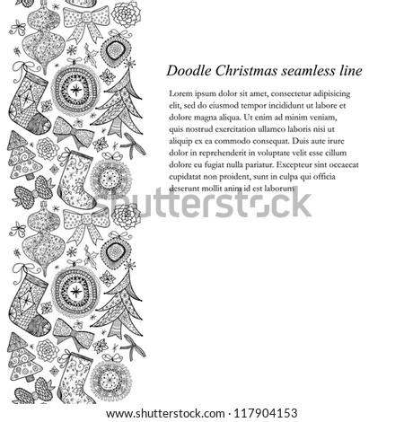 Doodle Christmas seamless line-pattern. Raster.