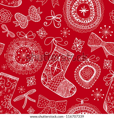Doodle Christmas seamless pattern. Raster. - stock photo