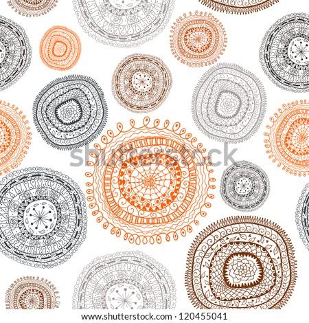 Doodle circles seamless pattern. Raster.