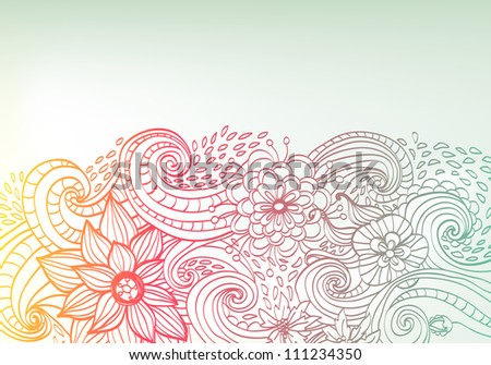 Doodle color floral background, illustration for your design