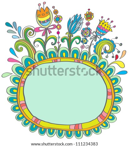 Doodle color frame with birds and flowers for your design, illustration