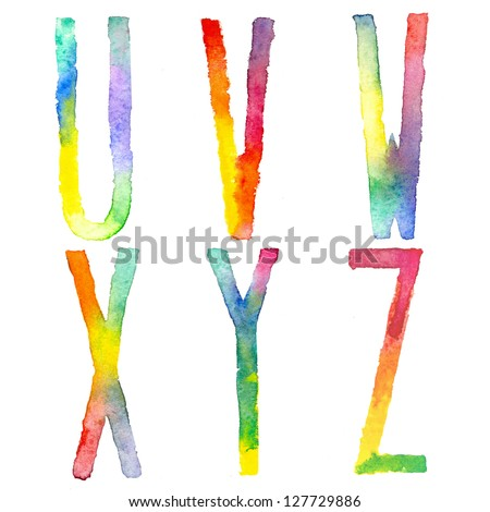 Doodle hand drawn watercolor alphabet : letters U-Z - stock photo