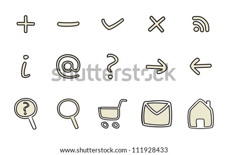 Doodle icons - arrow, home, rss, search, mail, ask, plus, minus, back, forward. Web tools symbols or sign set isolated on white background