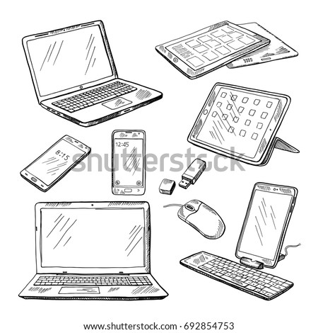 Doodle illustrations of different devices laptop, smartphone, tablet, pc and other. pictures set of device laptop and smartphone