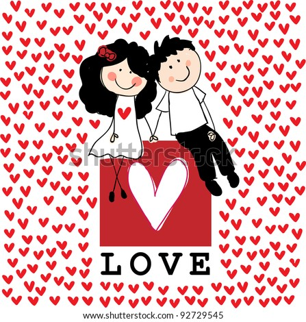 Doodle lovers: a boy and a girl holding hands, sitting at the love box with red hearts around. Raster.