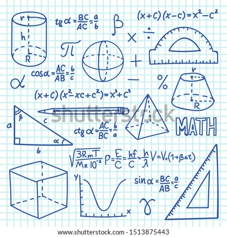 Doodle maths and geometry concept. Trigonometry functions, charts and mathematical formulas. school education background