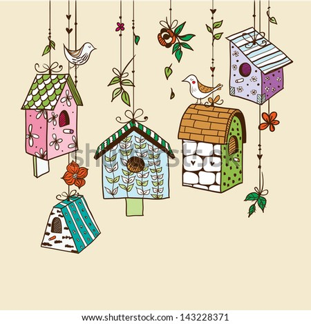 Doodle nesting boxes with birds. Raster.