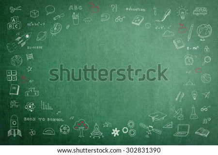 Doodle on green school chalkboard with blank copyspace for childhood imagination and education success concept