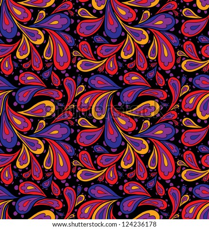 Doodle seamless paisley pattern. Raster.