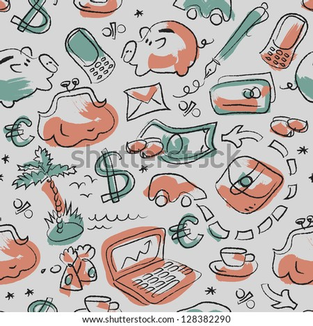 Doodle seamless pattern with financial symbol. Illustration.