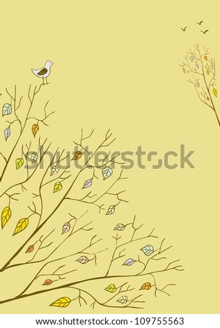 Doodle seasonal background with birds and trees. Raster.
