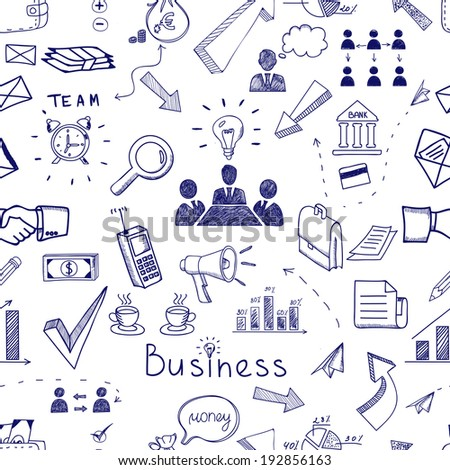 Doodle sketch business icon seamless pattern with financial  teamwork  management  graphs and charts  handshake  brainstorming  documents and mail icons scattered randomly on white