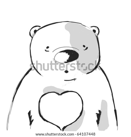 doodle sketch of funny bear - stock photo