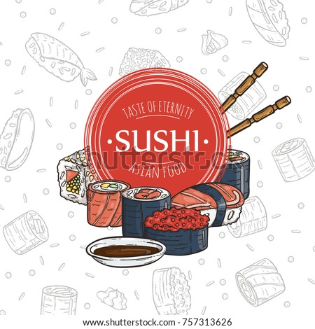 Doodle sushi restaurant and delivery design template. Asian food composition. Raster illustration