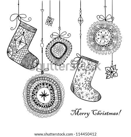 Doodle textured Christmas baubles and socks background. Raster.