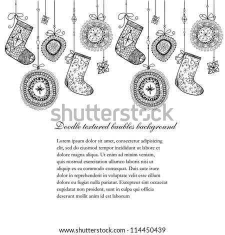 Doodle textured Christmas baubles and socks seamless line. Raster.