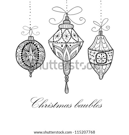 Doodle textured Christmas baubles background. Raster.