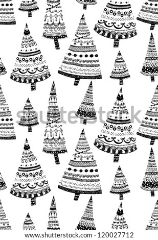 Doodle textured Christmas trees-baubles seamless pattern. Raster.
