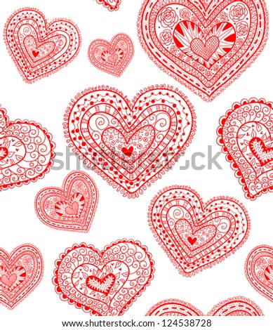 Doodle textured hearts seamless pattern. Raster.