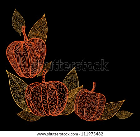 Doodle textured pumpkins and leaves background. Raster.