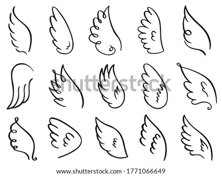 Doodle wings. Hand drawn angel flight feather, elegant angel wings, heaven angels wings sketch  illustration icons set. Angel bird and dove winged, wing drawn tattoo contour