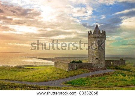 Doonagore Castle in the beautiful scenery, Ireland.