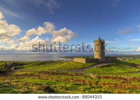 Doonagore castle near Doolin, Co. Clare, Ireland - stock photo