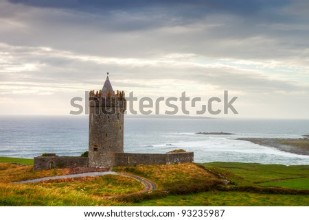 Doonegore castle in Doolin, Ireland.