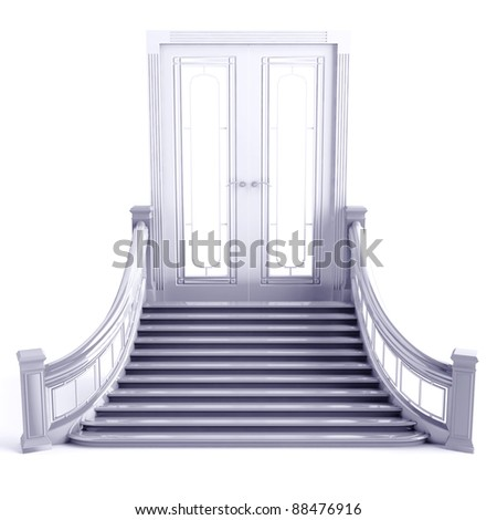 Door and steps of a ladder of a metal shade