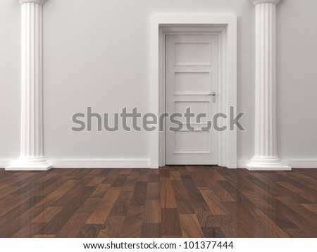door and two white column