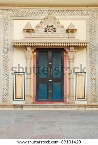 Door at Mubarak Mahal in City palace, India