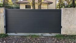 door automatic sliding dark grey gate of modern house