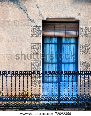 Door / Balcony / Old style door with balcony / Barcelona, Spain