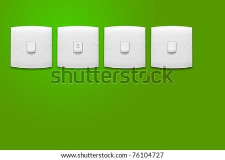 Door bell on green background
