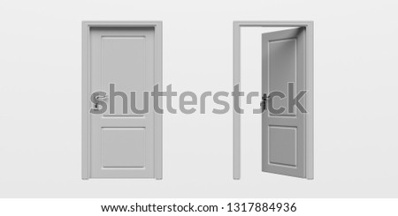 Door closed, door open. Set of closed and open doors isolated cutout on white background. 3d illustration