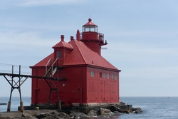 Door County Lighthouse on Lake Michigan