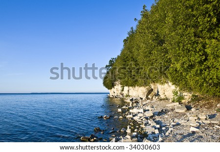 Door County Shoreline with Washington Island in the Distance