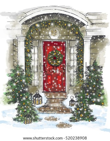 Door decoration. Christmas card poster banner.