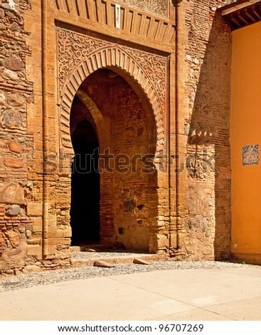 Door details of the Alhambra in Granada, Spain