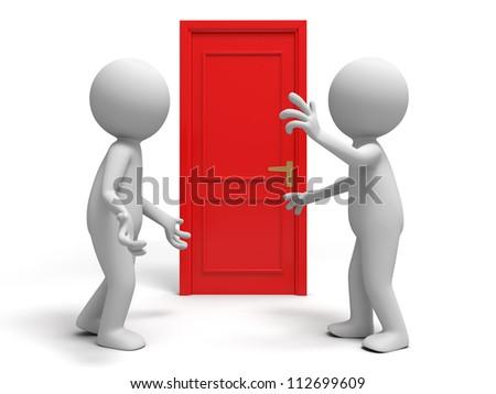 Door/ discuss/ two people discuss in front of a door