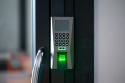 Door electronic access control system machine. Finger print scan devices machine.
